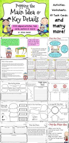 Main Idea: Let your students learn about main idea by searching for the main idea and the supporting details! This unit has helpful activities that your students will surely enjoy. Reading Resources, Reading Strategies, Reading Activities, Teaching Reading, Reading Comprehension, Teaching Ideas, Main Idea Worksheet, 3rd Grade Reading, Future Classroom