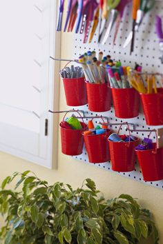 Craft room organization: Use pegboard and small buckets as functional decor. Eliminate cutter by stashing marking tools, thread, and other small quilting notions in cute painted, wooden, or metal containers. Organization And Management, Kids Room Organization, Classroom Organisation, Classroom Decor, Organizing Ideas, Classroom Supplies, Future Classroom, School Classroom, Classroom Management
