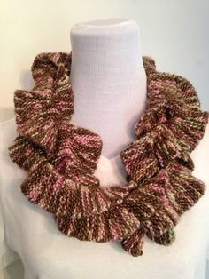 Women's Knit Swirly Scarf in Browns with splashes by SavvyFrills, $66.75