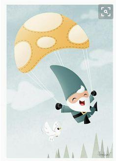 Parachuting gnome...