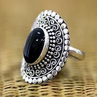 Balinese artisan Sukartini presents a #ring design with a perfect polished oval of onyx