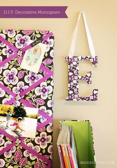 D.I.Y.: Decorative Monogram from old Vera Bradley stationary/files/gift bags