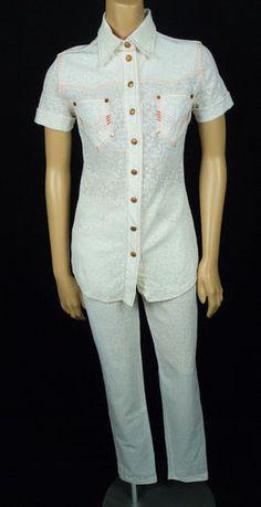 GAULTIER JEANS Vtg Pant Suit 36 38 White Orange Top Outfit HAUTE JEANERIE RARE!