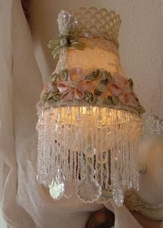 VICTORIAN Romantic  Chic  RibbonRose  LampShade by mysilkywoods $36.00