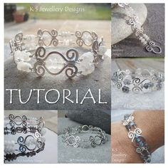 This wire jewelry tutorial has 112 close-up photographs and detailed step-by-step instructions to show you how to create a beautiful HAMMERED SWIRL LINK BRACELET with a matching 'swirl clasp'. The lesson includes wirework tips on creating spirals, shaping and hammering wire and wire wrapping techniques.MATERIALS YOU WILL NEED: 18 gauge soft round wire24 gauge soft round wire26 gauge soft round wireRondelle beads (NB. Plated wire is NOT r... #wirejewelry