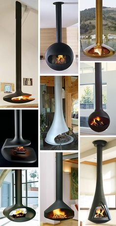 Love, love these Hanging Fireplaces!