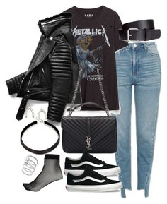 """Untitled #3035"" by theeuropeancloset on Polyvore featuring Topshop, Yves Saint Laurent, Vans, River Island, H&M, Orelia and Vince Camuto"