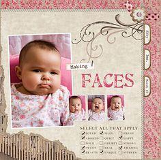 Scrapbook Bebe, Baby Girl Scrapbook, Baby Scrapbook Pages, Scrapbook Layout Sketches, Scrapbooking Layouts, Baby Journal, Baby Album, Pregnancy, Baby Gallery