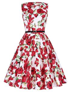 Cute Boatneck Sleeveless Vintage Tea Dress With Belt