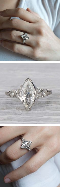 Antique Edwardian engagement ring made in platinum and centered with an approximately 1.20 carat EGL certified marquise cut diamond with G-H color and VS2 clarity. Circa 1915 #weddingring
