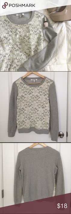 """•• LACEY GREY SWEATER •• Cozy and romantic look all in one with this sweater from Forever 21. Lace design is only in front. Only worn once and """"like new"""" condition. Forever 21 Sweaters Crew & Scoop Necks"""