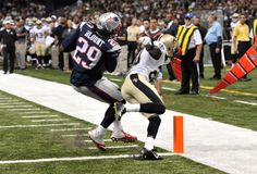 TD WAS NO GOOD...New England Patriots running back LeGarrette Blount (29) scores a touchdown as New Orleans Saints defensive back Brian Dixon (20) tries to defend in the second half of a preseason NFL football game in New Orleans, Saturday, Aug. 22, 2015. (AP Photo/Bill Feig)