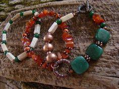 SALE     Set of 3 Bracelets       Assymmetrical Earthy Jade & Copper                                  FREE Shipping