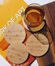 Wood Drink CoastersLaser EngravedBirds on Wireset of by GrainDEEP