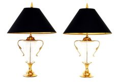 Pair Chapman Brass and Glass Urn Form Table Lamps