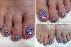 LCN frosted Rain and lilac blossom polish ombre hand painted leopard print with LCN acrylic paints