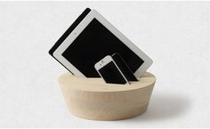 """Wooden(Cypress) iPad, iPhone holder designed by Takashi Kirimoto for """"Sample"""" project."""