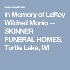 In Memory of LeRoy Wildred Monio -- SKINNER FUNERAL HOMES, Turtle Lake, WI