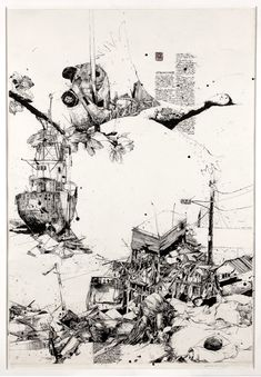 Japan by Simon Prades  100 x 70 cm each | Ink and watercolor on Paper     An attempt to organize the chaos of feelings, images and informations  concerning the disaster in Japan, through two Drawings.