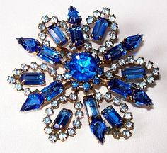 Schriener Brooch Pin Blue Sapphire by BrightgemsTreasures on Etsy, $34.50
