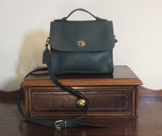 Coach Court Bag In Green Leather With Brass Hardware Adjustable Crossbody Strap Made In United States- VGC by ProVintageGear on Etsy