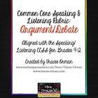 Common Core Speaking & Listening Rubric: Argument Debate Speech