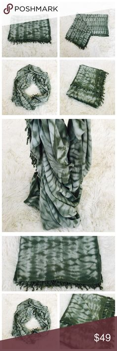 Bamboo Handmade Scarf Large bamboo olive green scarf with fringe at ends. Dry clean or hand wash cold. Measurements: Length 80 inches; width 28 inches. Hand made in Nepal. 100% Bamboo. Nepali by TDM Design Accessories Scarves & Wraps
