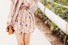 Simple flowy dress with light cardigan and bow belt.