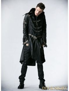 Men's Gothic Skull Buckle Up Faux Leather Parka Coat With Belt - Punk Design Trench Coat Outfit, Trench Coat Men, Parka Coat, Cool Jackets For Men, Stylish Jackets, Leather Men, Black Leather, Leather Jackets, Gothic Men