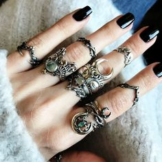 ♆ The ULTIMATE Running With The Wolves stack ♆ Shop Running With The Wolves Now! ✧♆✧ shopdixi.com ✧♆✧ dixi // jewellery // jewelry // boho // bohemian // grunge // goth // dark // mystic // magic // witchy // sterling silver // ring #jewelrynecklaces