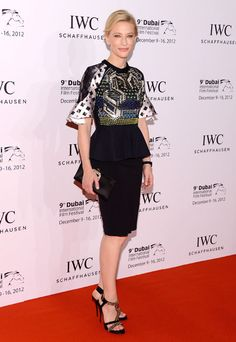 Cate Blanchett at IWC Schaffhausen Filmmaker Award Gala Dinner and Ceremony during the Dubai International Film Festival in Peter Pilotto. Shoes and clutch by Roger Vivier. Watch by IWC.