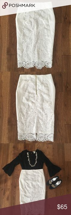 White lace ASOS skirt Very new, I only wore it once to church :) by just the skirt or you can get the whole look for a discounted price! :) ASOS Skirts Midi