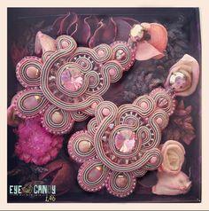 La Vie en Rose  Soutache Earrings by EyeCandyLab on Etsy, €70.00