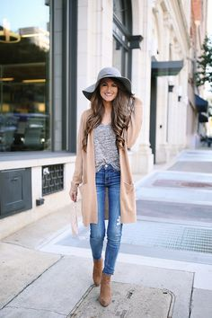 tan cardigan , similar HERE  // grey quarter sleeve tee  //  Current Elliott jeans   tan wedge booties  //  wool floppy hat ...