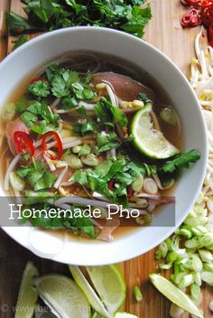 Homemade Pho - need to cook the noodles more than the recipe calls for, but great end result!  Add limes to the shopping list too.