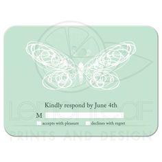 Whimsical Mint Butterfly Wedding RSVP Wedding Mint Green, Green Weddings, Spring Weddings, Mint Background, Butterfly Wedding, Hand Sketch, Magical Wedding, Wedding Rsvp, Wedding Themes