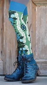 BLUE & GREEN FLOWERED KNEE HIGH SOCKS