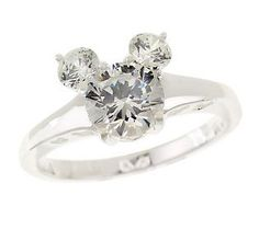 Disney Sterling Diamonique 2.00 ct tw Mickey Mouse Ring