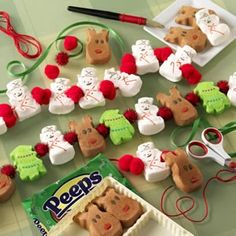 christmas peeps garland. need string and knitting needle to get them on the string(or toothpick would work im sure!)