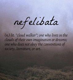 "Nefelibata[Portuguese] ~ (n.) lit. ""cloud walker"" ☁"