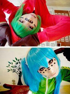 Gumi and Hatsune Miku Matryoshka (Vocaloid) Vocaloid Characters, Cosplay Characters, Miku Hatsune Cosplay, Hatsune Miku, Amazing Cosplay, Best Cosplay, Naruto Cosplay, Anime Cosplay, Anime Land