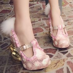 105.00$  Buy here - http://ali4f9.worldwells.pw/go.php?t=32730415541 - Cute Little Rabbit Strange Heel Women Pumps Mary Janes Pink High Heels Paillette Party Dress Shoe Feather Decor Wedge Shoes 105.00$