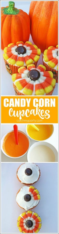 Fall Candy Corn Cupcakes perfect for Halloween parties and Thanksgiving! | CatchMyParty.com