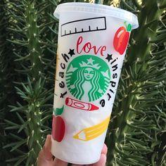 Starbucks Cup Gift, Starbucks Cup Design, Personalized Starbucks Cup, Custom Starbucks Cup, Diy Tumblers, Personalized Tumblers, Custom Tumblers, Silhouette Cameo, Custom Cups
