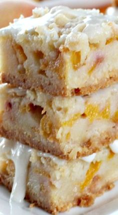 Peach Bars with Almond Drizzle Recipe ~ a spectacular combination of flavors.