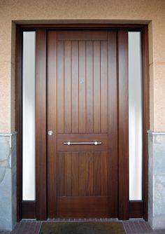 M025 puerta de entrada de madera con ventanita hogar for Puertas entrada madera maciza precios