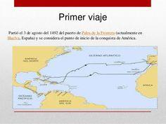 Ruta del primer viaje de Cristóbal Colón hacia la conquista de América.