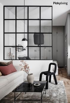 Industrial living room with glass partition. Source: Interior of the house at www. Industrial living room with glass partition. Source: Interior-house at www. room room room decoration ➳Myrt➳ on. Small Living Rooms, Living Room Designs, Living Room Decor, Apartment Interior, Apartment Living, Vintage Apartment, Studio Apartment, Apartment Ideas, Modern Minimalist Living Room