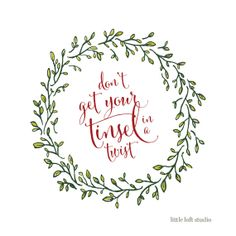 Don't Get Your Tinsel in a Twist Christmas Poster by LittleLoftStudio $15