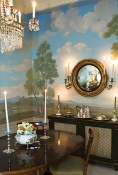 Love the Zuber wall paper w/ the bullseye mirror.